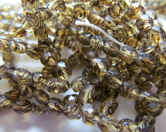 Vintage Glass Beads (24) Tiger Faceted Spacer Accent Beads