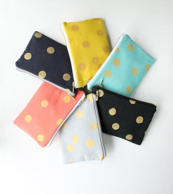Gold Dot Zipper Clutch Bag, Choose Colors, Best Friend Gift for Her, Stocking Stuffer