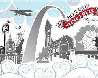 Meet Us In St. Louis Custom Postcards