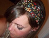 "deep Brown with retro flowers  2"" wide fabric headband"