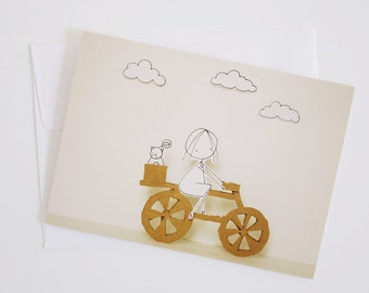 Love my bike -  Greeting Card - Paper diorama