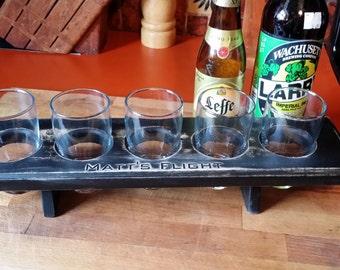 Wooden Craft Beer Flight - Vintage Black - Gifts for Men, Groomsmen, Geek, Nerd, Beer Lover - Man Cave FREE ENGRAVING