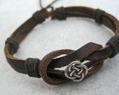 Leather Bracelet Women's Men Celtic Curved Leather Wrap Bracelet Cuff