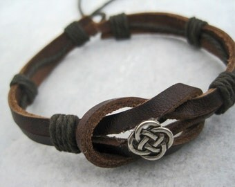 Leather Bracelet Women's Men Celtic Curved Leather Wrap Bracelet Cuff