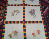 Vintage Hand Embroidered Wall Hanging Set of Three
