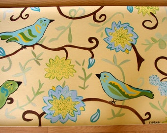 floorcloth home decor rug art for the floor birds and flowers turquoise and yellow CUSTOM ORDER on beige painted rug