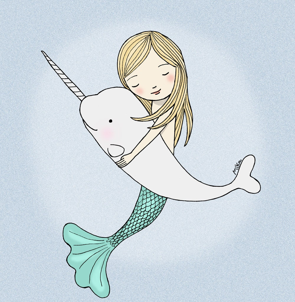 Mermaid Narwhal Illustration Print Instant Download DIY
