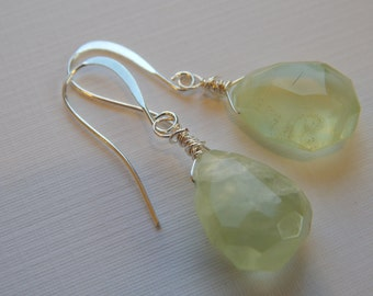 Faceted Prehnite Drops Wire Wrapped to Sterling Ear Wires