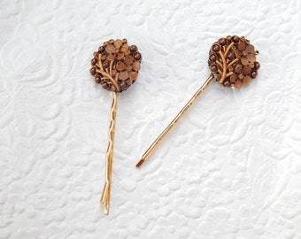 2 sparkling rhinestone coppery bobby-pins, hair accessory, womens accessory, fashion accessory, floral hairpin