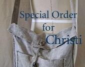 "Wabi-Sabi Vintage Linen Shoulder Bag, 12"" x 11 1/2"" x 3"" base, 35"" x 1 1/4"" shoulder strap with hand-plied linen cord and steel metal clay"