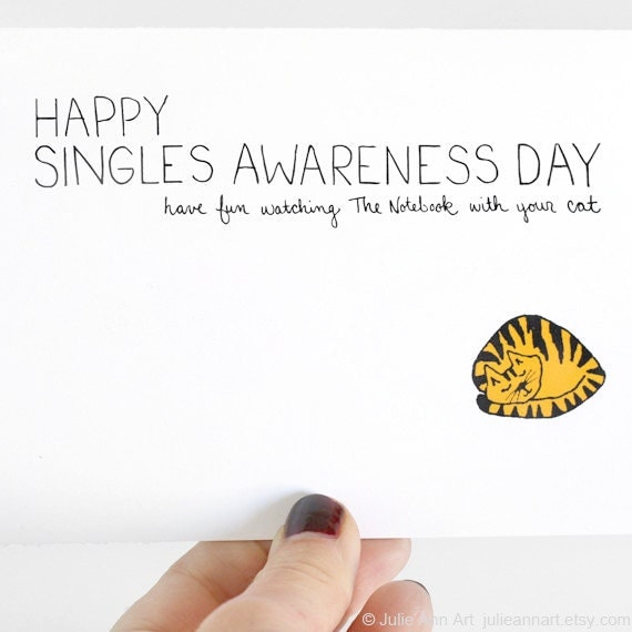 Items similar to Anti Valentine Card Single Awareness Day Card – Single Valentines Cards