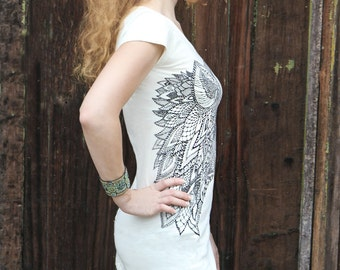 Cotton Tee, White Shirt, Casual Blouse, White Minimalist Top, Wolf Print Top, White Tunic, Designer Top, Fashion T Shirt,Fitted Top Sexy Tee