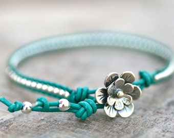 Turquoise Leather with Sterling Silver Beaded Leather Wrap Handmade Bracelet