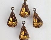 Vintage Smokey Topaz Glass Teardrop 1 Loop Brass Ox Setting 13x8 (4) par016AN