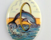 Vintage Dolphin Acrylic Cameo Germany 40x30mm (1) cab864A