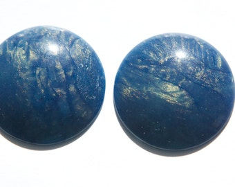 Vintage Blue with Iridescent  Acrylic Cabochons 30mm (4) cab848D
