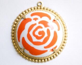 Pop Color Orange Flower Cab in Brass Findings Earrings or Pendant  (2) pnd167D