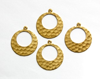 1 Hole Hammered Raw Brass Open Circle with Loop Pendant Drops Wide Bottom (4) mtl412C