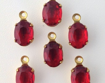 Vintage  Siam Ruby Faceted Set Stones 1 Loop Brass Setting 8x6mm (6) ovl012E