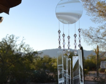 Windchime Transparent Wispy with White Glass Suncatcher
