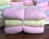 Final Clearance: Exquisite Cloth Diaper Wipes / facecloths. Fluffy Cotton Sherpa  - pink / yellow / pink