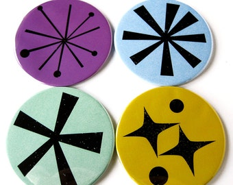 Coasters // Pantone 2014 Colors // Retro Mod Graphics // Set of 4