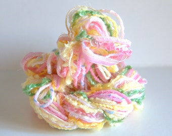 Fibers Lot - Craft Supplies - Baby Colors - Yarn Lot - Crochet Yarns - Knitting Yarns - Scrapbooking Fibers - Fringe