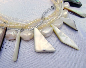Ocean Shards Mother of Pearl multistrand necklace