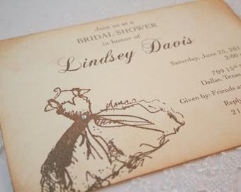 Bridal Shower Invitations Engagement Bachelorette Dress Set of 10
