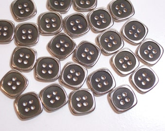 Brown Buttons, Brown Plastic and Silvertone Metal Buttons 5/8 inch diameter x 25 pieces, Square 4 Hole