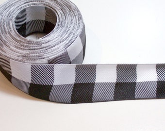 White and Black Check Buffalo Plaid Ribbon 1 1/2 inches wide x 11 yards, Offray Lodge Plaid, SECOND QUALITY FLAWED