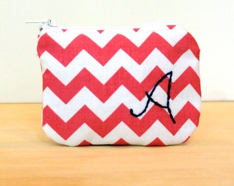 coin purse personalized pink chevron monogram Riley Blake