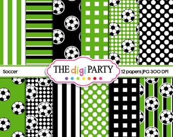 soccer digital papers printable green black white scrapbook printables world cup paper sports background