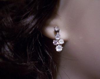 Vintage Costume Jewelry Diamond Earrings