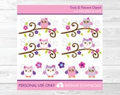 Cute Pink Owl Clipart / O...