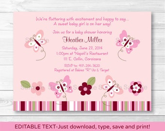 Pink Butterfly Baby Shower Invitation / Butterfly Baby Shower / Pink & Burgundy / INSTANT DOWNLOAD Editable PDF A372