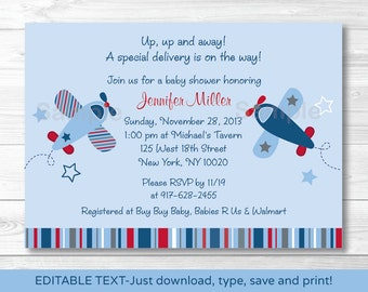Airplane Baby Shower Invitation INSTANT DOWNLOAD Editable PDF