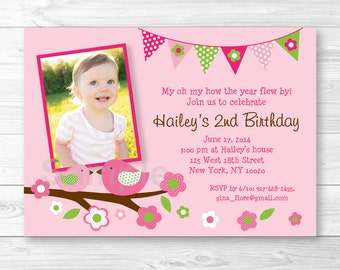 Spring Bird Birthday Invitation PRINTABLE Any Age