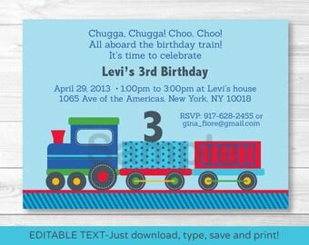 Cute Choo Choo Train Birthday Invitation / Train Birthday Invite / 1st Birthday / 2nd Birthday / Any Age / INSTANT DOWNLOAD Editable PDF