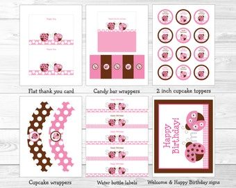 Cute Pink Ladybug Birthday Party Package / Ladybug Birthday Party / Ladybug Birthday Decorations / Pink & Brown / Printable INSTANT DOWNLOAD