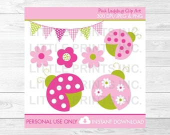 Cute Pink Ladybug Clipart / Ladybug Baby Shower / Ladybug Birthday / Pink & Green / Baby Girl / PERSONAL USE Instant Download