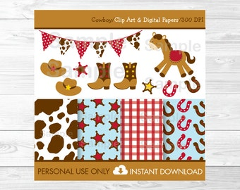 Cute Cowboy Clipart / Cowboy Digital Paper / Cowboy Baby Shower / Cowboy Birthday / Cowboy Theme / PERSONAL USE Instant Download