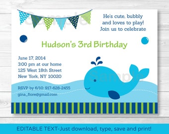 Preppy Whale Birthday Invitation INSTANT DOWNLOAD Editable PDF Any Age