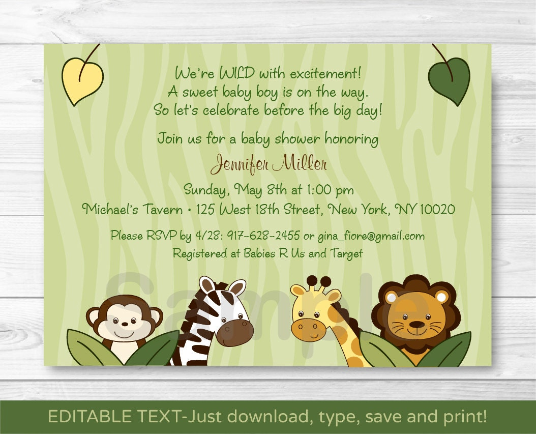 cute jungle animal baby shower invitation jungle animal baby