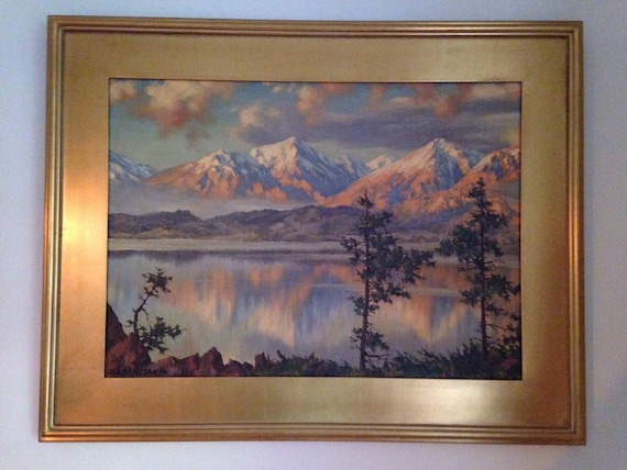 1962 California Plein Air Landscape of Lake and Mountain Range by Lachmayr