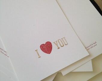 "Letterpress-printed ""I <3 You"" notecards"