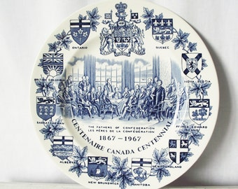 Vintage Centenaire Canada Centennial Plate - Souvenir - Blue and White on Alpine Wood and Sons Ironstone