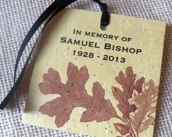 In memory of  - memorial keepsake plantable seeded tags with vintage oak leaves - 25