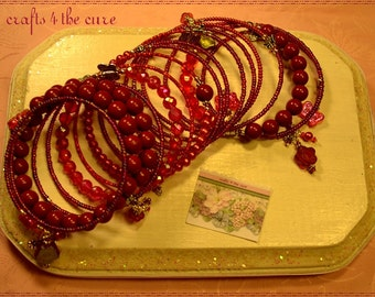 Cranberry-Maroon Crystals, Pearls,Butterfly Memory Wire Bracelet