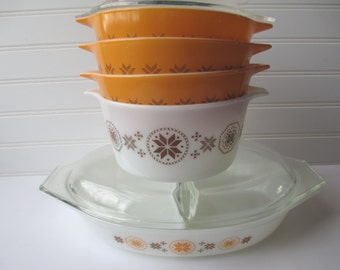 Vintage Pyrex Town & Country Bakeware Set of Five - Retro